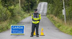 Incident: A garda on the road where Mr Lunney was found