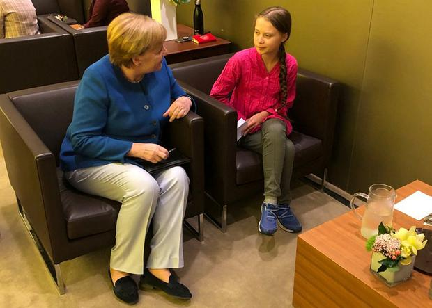 Strong message: German Chancellor Angela Merkel talks to climate activist Greta Thunberg during her visit to the UN. Photo: Steffen Seibert/Bundesregierung/Handout via REUTERS