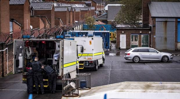 Police at Holy Cross Primary School in Belfast. Photo: Kevin Scott