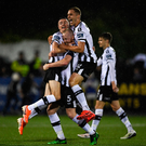 Shields (C), Daniel Kelly and Georgie Kelly celebrate at the final whistle of last night's game. Photo: Sportsfile