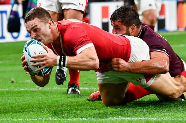 Wales' wing George North scores a try. Photo: AFP/Getty Images