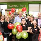 Barry O'Sullivan (Centre left ) owner of the Centra Store and service station in Inishannon, Co. Cork where the winning ticket was bought on the day of the draw (Saturday 21st September) is pictured with Martin Manley, National Lottery and staff from left Renat Swiatek; Monika Twomey; Sylwia Ardron: Barry O'Sullivan; Agniesjka Wrzeszcz; Leona McCarthy;Ber Shiels: Donna Madden and Stacey Madden. Pic: Mac Innes Photography.