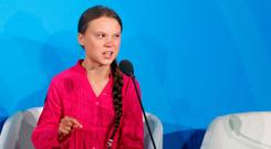 Environmental activist Greta Thunberg, of Sweden, addresses the Climate Action Summit in the United Nations General Assembly (AP Photo/Jason DeCrow)