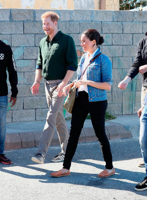 Prince Harry, Duke of Sussex and Meghan, Duchess of Sussex visit Waves for Change, an NGO, at Monwabisi Beach on September 24, 2019 in Cape Town, South Africa