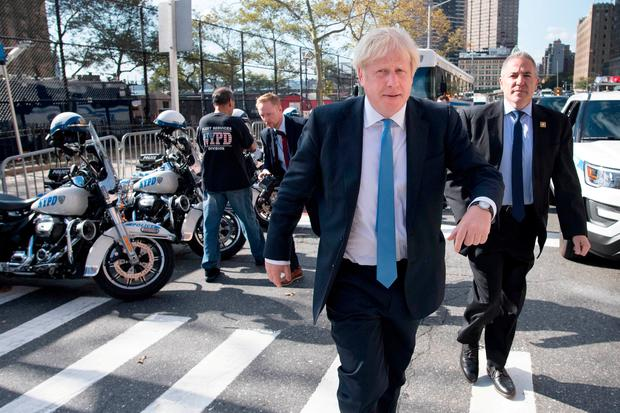 Prime Minister Boris Johnson arrives at the United Nations headquarters in New York where he is attending the 74th Session of the UN General Assembly. Stefan Rousseau/PA Wire