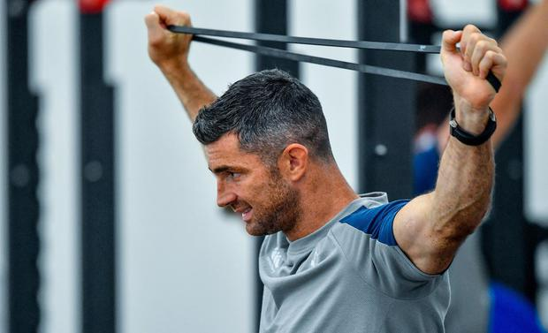 Rob Kearney puts himself through his paces at an Ireland gym session. Photo: Brendan Moran/Sportsfile