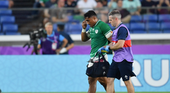 Bundee Aki of Ireland leaves the pitch for a head injury assessment during the 2019 Rugby World Cup Pool A match between Ireland and Scotland at the International Stadium in Yokohama, Japan. Photo by Brendan Moran/Sportsfile