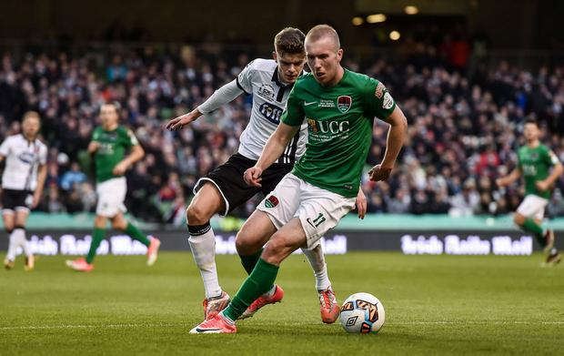 MOVING UP: Stephen Dooley in action for Cork City against Dundalk's Sean Gannon during the 2017 FAI Cup final. Photo: Eóin Noonan/Sportsfile