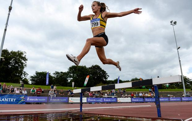 FLYING HIGH: Michelle Finn will be the first of the Irish team in action, on Friday, in the women's steeplechase in Doha. Photo: Harry Murphy/Sportsfile