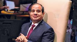 Rattled: President of Egypt Abdel Fattah al Sisi at the United Nations General Assembly at UN Headquarters in New York. Photo: Timothy A Clary/AFP