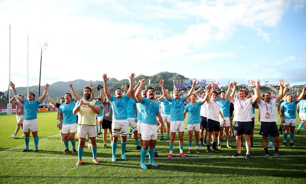Uruguay players celebrate victory over Fiji in the Rugby World Cup Pool D clash in Kamaishi, Japan. Photo: Reuters/Peter Cziborra