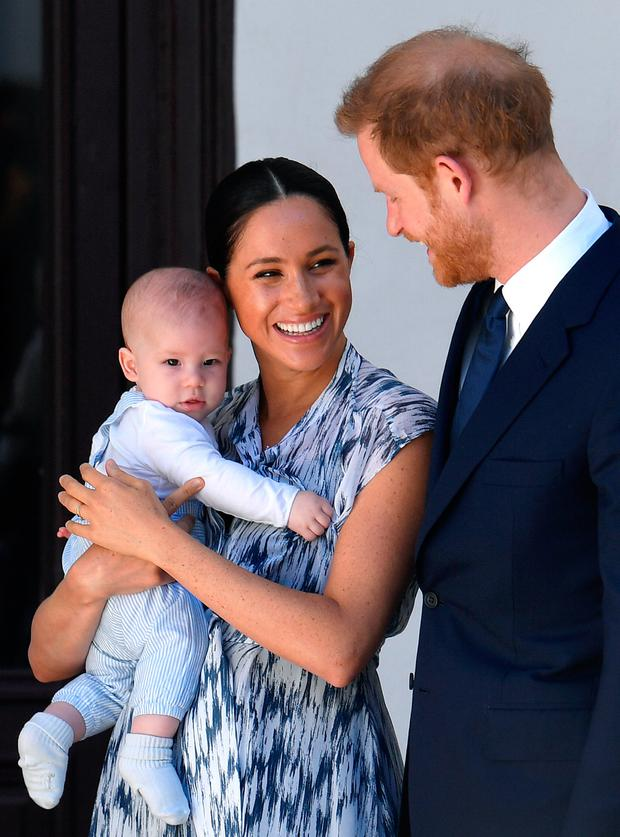 Prince Harry, Duke of Sussex, Meghan, Duchess of Sussex and their baby son Archie Mountbatten-Windsor meet Archbishop Desmond Tutu at the Desmond & Leah Tutu Legacy Foundation during their royal tour of South Africa on September 25, 2019 in Cape Town, South Africa. (Photo by Toby Melville - Pool/Getty Images)