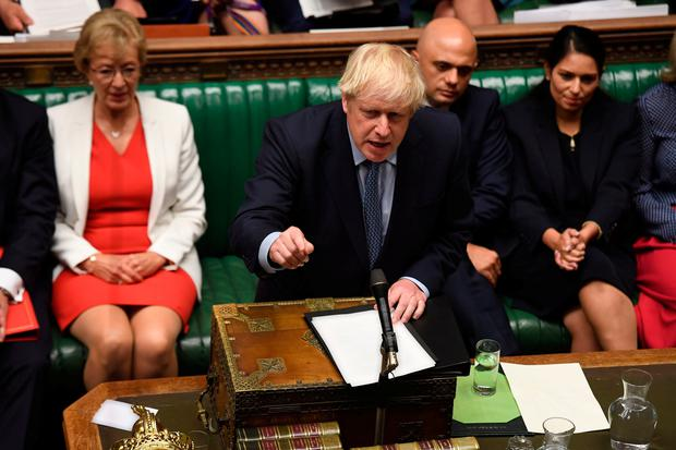 Business Secretary Andrea Leadsom and Chancellor of the Exchequer Sajid Javid listening to Prime Minister Boris Johnson in the chamber of the House of Commons. UK Parliament/Jessica Taylor/PA Wire