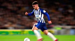Brighton and Hove Albion's Aaron Connolly in action during the Carabao Cup, Third Round match at the AMEX Stadium, Brighton. Andrew Matthews/PA Wire.