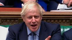 Boris Johnson speaks in the House of Commons. Photo: House of Commons/PA Wire