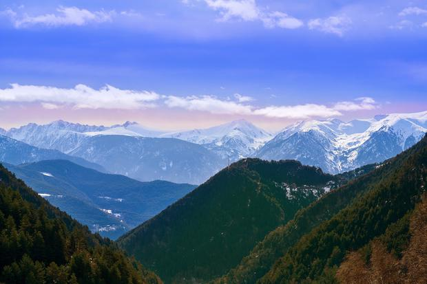 Arinsal mountains in Andorra Pyrenees