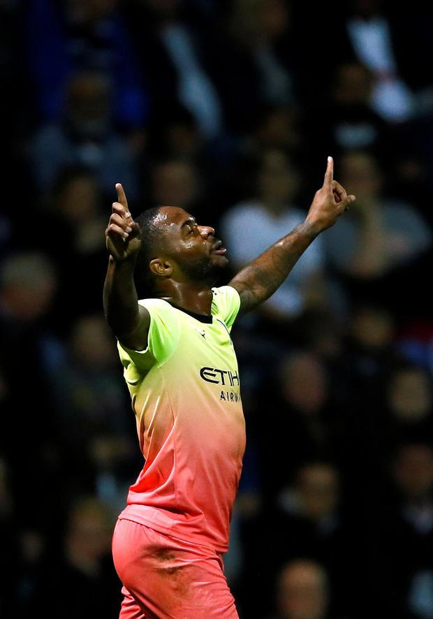 Manchester City's Raheem Sterling celebrates scoring their first goal against Preston in the League Cup