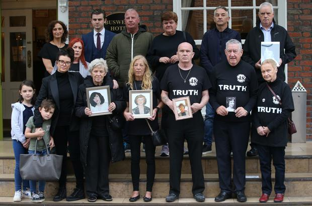 Victims family members at a Stardust press conference after the announcement that families of Stardust blaze will get a fresh inquest pictured at Buswells Hotel Dublin Pic Stephen Collins/Collins Photos
