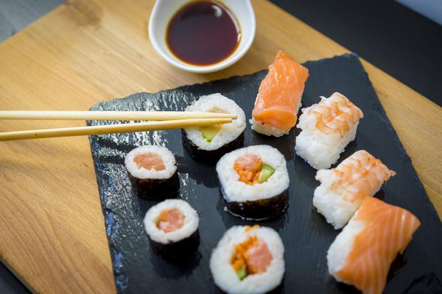 Raw: As sushi is not cooked, there is a concern about dangers of parasites. Stock picture