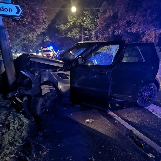 Crash scene: The wreckage of the team-mate's car in which Richard Keogh was injured. Photo: Derbyshire roads policing unit