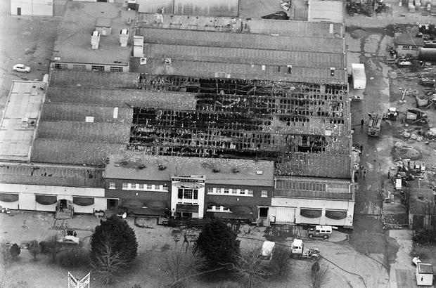 The roof of the Stardust nightclub, which was gutted in the blaze