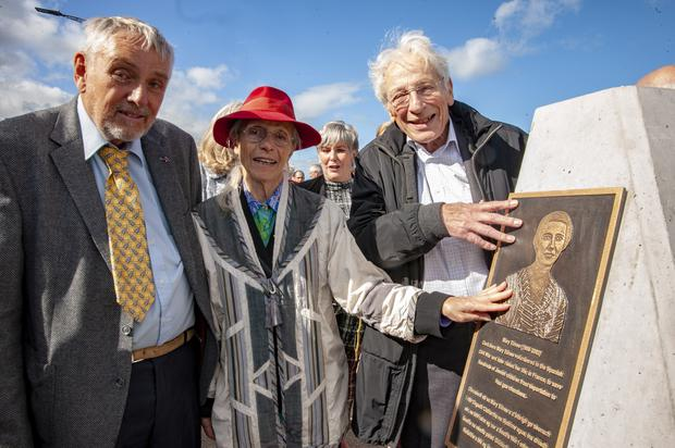 From left: Patrick Danjou, son of Mary Elmes, with Charlotte Berger-Greneche and Georges Koltein, who as children were rescued from deportation to Auschwitz by Mary Elmes. Pic: Brian Lougheed