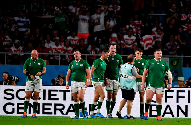 28 September 2019; Ireland players react after Japan scored a second half try during the 2019 Rugby World Cup Pool A match between Japan and Ireland at the Shizuoka Stadium Ecopa in Fukuroi, Shizuoka Prefecture, Japan. Photo by Brendan Moran/Sportsfile