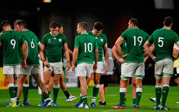 Rugby Ireland players following the 2019 Rugby World Cup Pool A defeat to Japan