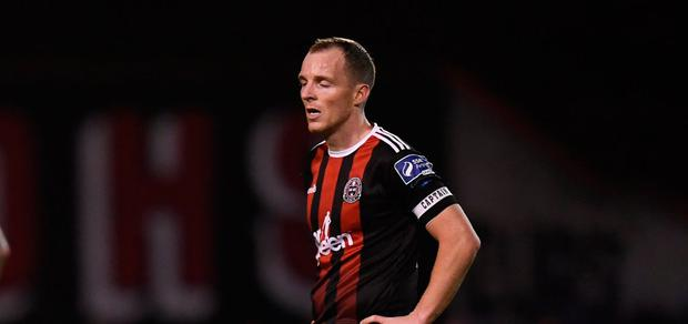 Derek Pender of Bohemians during defeat to Rovers
