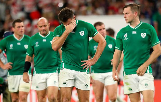 FUKUROI, JAPAN - SEPTEMBER 28: Ireland player Jacob Stockdale shows dejection after the Rugby World Cup 2019 Group A game between Japan and Ireland at Shizuoka Stadium Ecopa on September 28, 2019 in Fukuroi, Shizuoka, Japan. (Photo by Stu Forster/Getty Images)