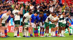 South Africa and Namibia players join together to thank the crowd following the Rugby World Cup 2019 Group B game between South Africa and Namibia at City of Toyota Stadium on September 28, 2019 in Toyota, Aichi, Japan. (Photo by Mark Kolbe/Getty Images)