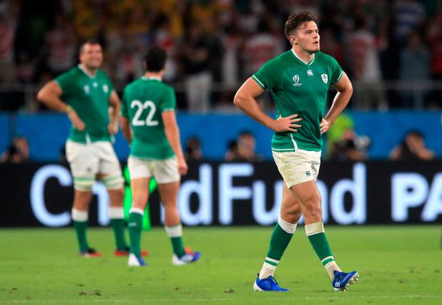 Ireland's Jacob Stockdale looks dejected after the match. Photo: Adam Davy/PA Wire
