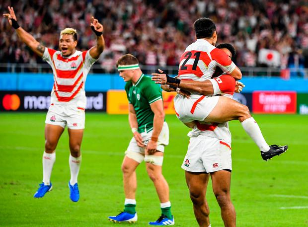Japan players celebrate victory at the end of the Japan 2019 Rugby World Cup Pool A win over Ireland
