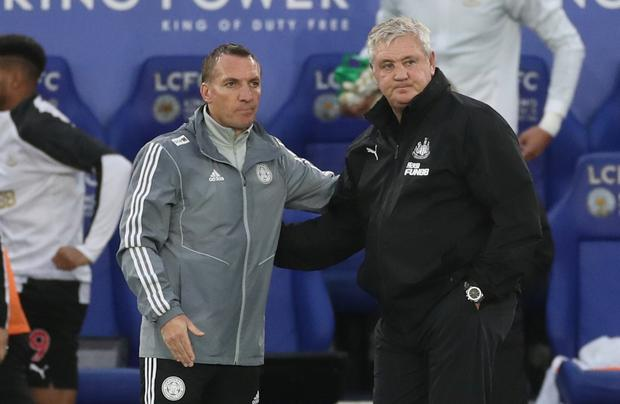 Leicester City manager Brendan Rodgers and Newcastle United manager Steve Bruce after the match