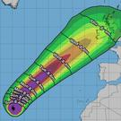A map shows where the effects of Hurricane Lorenzo will reach. Photo: Alistair Grant Freelance / National Hurricane Center