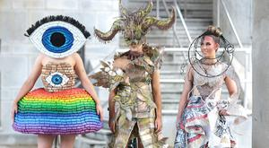 Lofty designs: Emma Dempsey, of Presentation Secondary School, Co Wexford, Roisin Killian, from Moate Community School, and Kayla Hand, from Ballybay Community College, Co Monaghan at the launch of Junk Kouture yesterday. Photo: Brian McEvoy