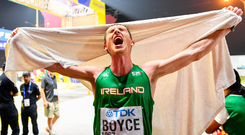A joyous Brendan Boyce after competing in the Men's 50km Race Walk during day two of the World Athletics Championships in Doha. Photo: Sam Barnes/Sportsfile