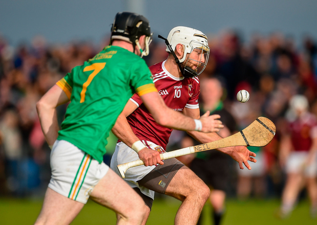 Cushendall's Neil McManus in action against Ryan McGarry of Dunloy. Photo: Oliver McVeigh/Sportsfile