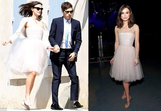 Keira Knightley restyled her wedding dress with sleeves. Photo: JABPromotions/REX/Shutterstock