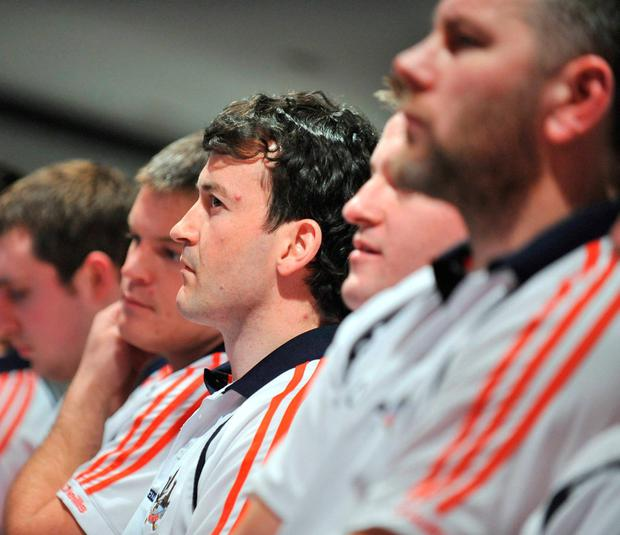 Donal Óg Cusack and Diarmuid O'Sullivan (far right) at a press conference during Cork hurlers' strike in 2009 – Cusack is now the county's minor manager while O'Sullivan is back a senior selector. Photo: David Maher / Sportsfile