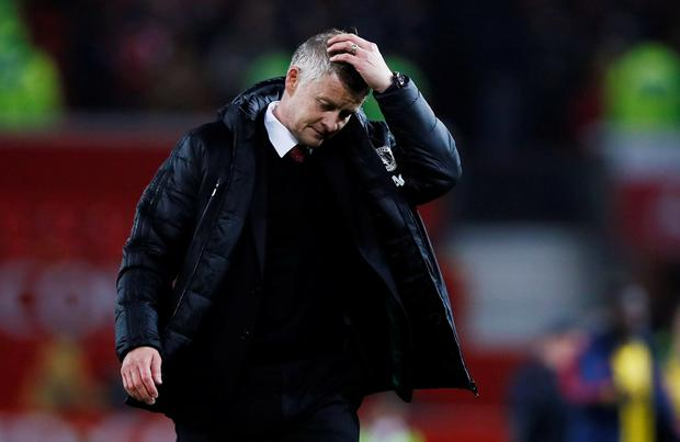 Manchester United manager Ole Gunnar Solskjaer reacts at the end of the match