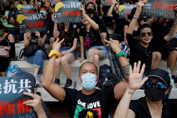 Anti-government protesters demonstrate at the Southorn playground in Wan Chai district, on China's National Day in Hong Kong, China October 1, 2019. Picture: REUTERS/Susana Vera