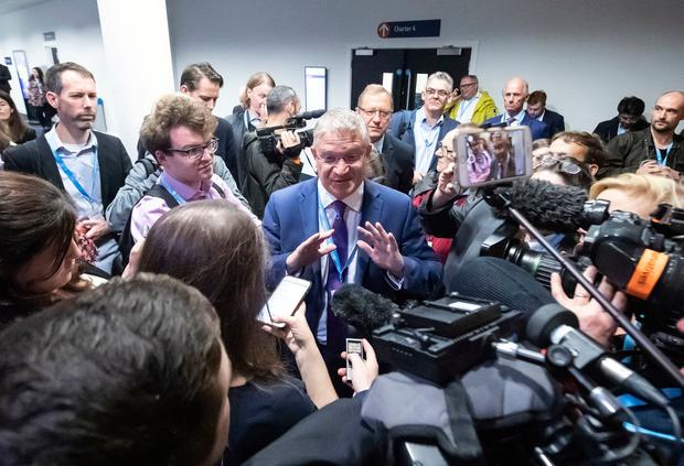 Andrew Rosindell MP talks to the press near the International Lounge at the Conservative Party conference, after incident involving MP Sir Geoffrey Clifton-Brown at the Manchester Convention Centre. Danny Lawson/PA Wire