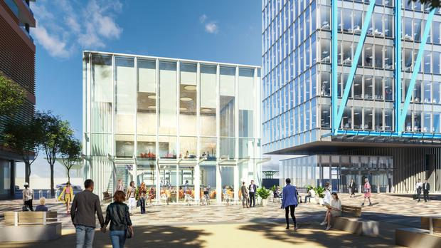 An artist's impression of what The Glassbox in The Point Village will look like once works are completed next year