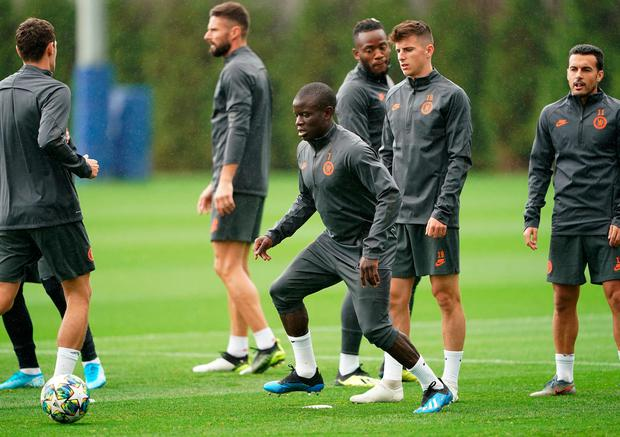 Chelsea's N'Golo Kante is pictured during a training session at CFC Training Ground, Stoke D'Abernon on Tuesday October 1. Photo: Tess Derry/PA Wire.
