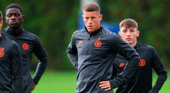 Chelsea's Ross Barkley, right, lookS on during A training session on the eve of the Champions League clash at Lille OSC. Photo: Alex Burstow/Getty Images