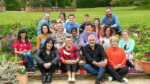 The Great British Bake Off cast 2019, (back row left to right) Phil, Helena, Henry, Jamie, Alice and Dan, (middle row, left to right) Steph, Michelle, David, Priya, Michael, Amelia and Rosie with (front left to right) presenters Noel Fielding, Prue Leith, Paul Hollywood and Sandi Toksvig. (Mark )