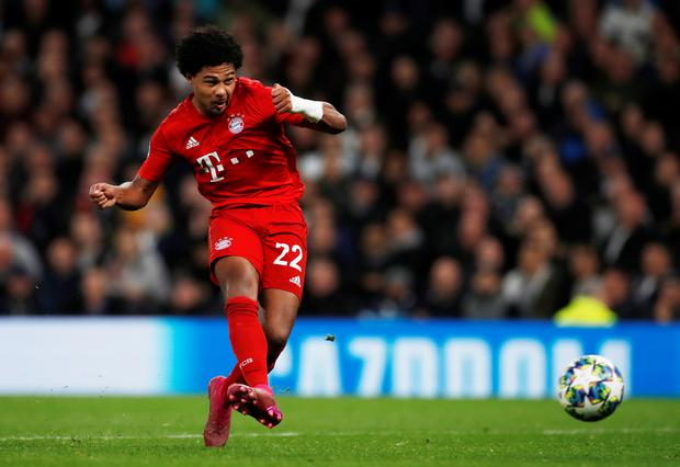 Bayern Munich's Serge Gnabry scores their fifth goal to complete his hat-trick in their Champions League Group B clash at the Tottenham Hotspur Stadium, London. Photo: Reuters/Paul Childs