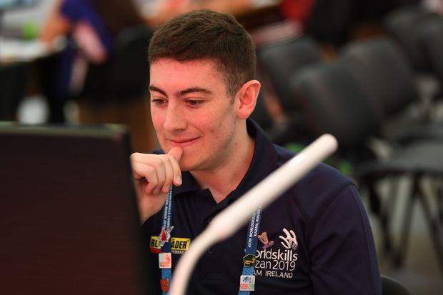 Luke O'Keeffe competing in the Building Information Modelling section. Photo: Alexey Fedorov