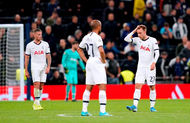 Tottenham Hotspur players appear dejected during the UEFA Champions League match at Tottenham Hotspur Stadium, London. PA Photo. Picture date: Tuesday October 1, 2019. See PA story SOCCER Tottenham. Photo credit should read: John Walton/PA Wire.